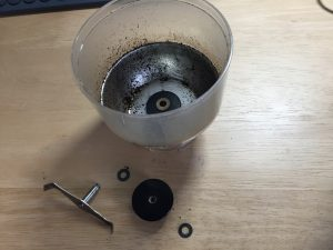 the coffee grinder - in pieces